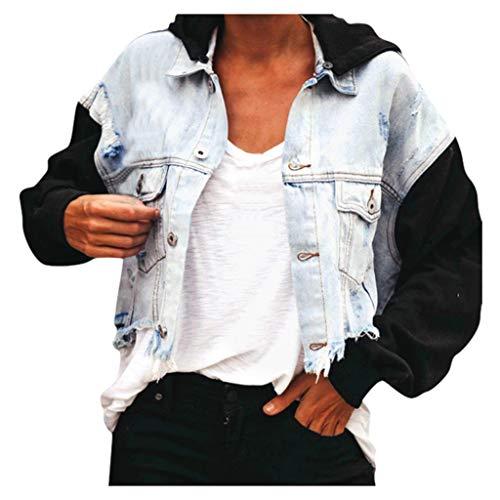 Dasongff Damen Sweatjacke Ohne Kapuze Kontrast Patchwork Jeansjacke Farbverlauf Sweatshirt Outwear Teenager Mädchen Oberbekleidung Hoodie Mantel Jacke Button Kapuzenjacke