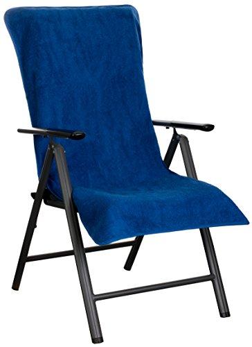 Brandsseller Frottee-Schonbezug für Gartenstuhl und Gartenliege sowie als Strandliegenauflage - aus 100% Baumwolle - ca. 65 x 130 cm (Blau)