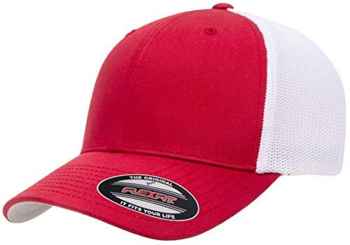 Flexfit Unisex-Erwachsene Trucker Mesh Fitted Cap-2-Tone Mütze, rot/weiß, Einheitsgröße