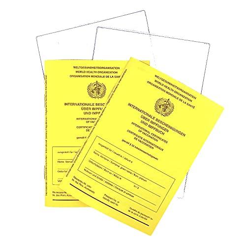 Internationaler 2021 Impfpass, Bescheinigungen über Impfungen im Set 2 x 2er Set, 28 Seiten nach offiziellen Vorgaben der WHO, stabilem Papier, Impfbuch, Impfpass, Schutzhülle im Set