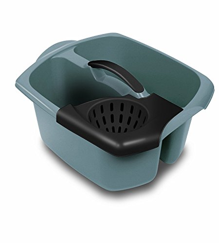 ADDIS - Cubo de 2 compartimentos con escurridor extraíble, color gris
