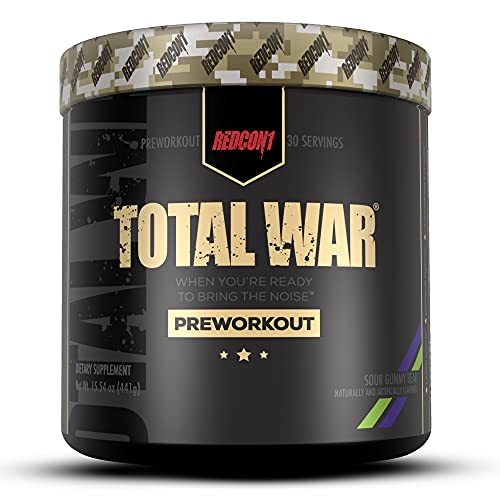 Redcon1 Total War Preworkout Powder - 30 Servings, Boost Energy, Increase Endurance and Focus, Beta-Alanine, 350mg Caffeine, Citrulline Malate, Nitric Oxide Booster - Keto Friendly (Sour Gummy Bear)