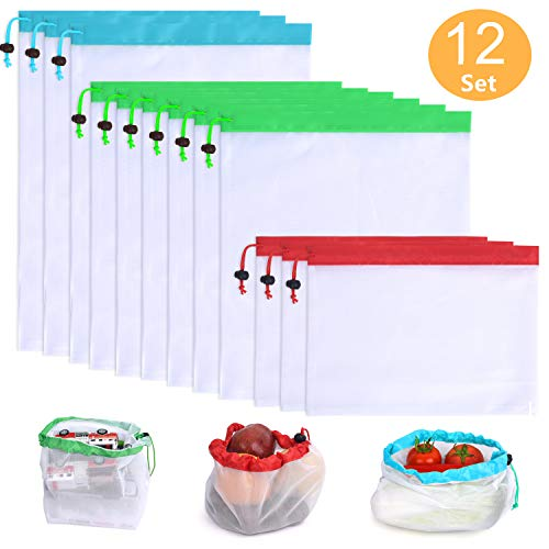 SKYIOL Obstbeutel Gemüsebeutel Wiederverwendbare Gemüsenetze Waschbar Leicht Säcke für Einkaufen, Aufbewahrung, 12 Set 3 Größen (MEHRWEG)