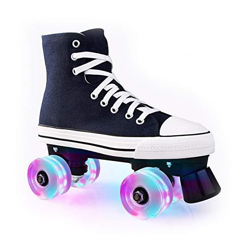 Pinkskattings@ Kinder Rollschuh Rollerskates Skates Mädchen Frauen Rollen Inliner Alle Räder Leuchten, Mehrere Farben,Blau,38