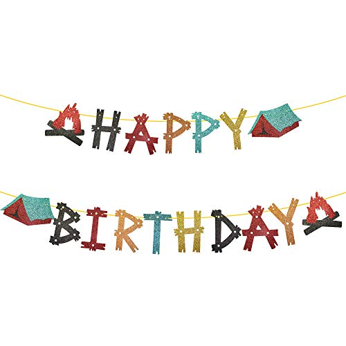 Camping Happy Birthday Banner, Glittery Camping Birthday Banner, Camping Birthday Party Decorations, Boys GirlS Camping Birthday Party Supplies Indoor Outdoor Home Yard Campsite Birthday Decor
