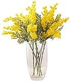 Kugusa ミモザ アカシア 造花 アーティフィシャル フラワー 枝垂れ枝 春 ブライダル 装飾 (黄色【3本】)