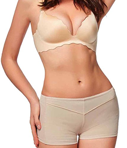 Gotoly Women Body Shaper Butt Lifter Control Panty Buttock Enhancer Booty Control (L, Beige)