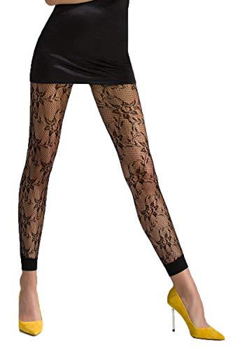 Passion Dessous Schwarze Frauen Netz-Strumpfhose transparent mit blumen Muster elastisch 3/4