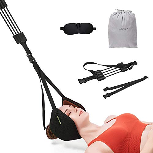 Neck Head Hammock, Mercase Cervical Neck Traction Device, Neck Stretcher with Durable Reinforced Elastic Cords & Adjustable Straps for Neck Shoulder Pain Relief, Muscle Relaxation and Headache