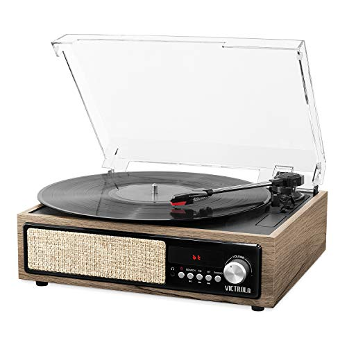 Victrola 3-in-1 Bluetooth Record Player with Built in Speakers and 3-Speed Turntable, Farmhouse Walnut