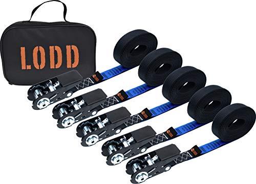 LODD - Lot de 5 Sangles d'arrimage à cliquet Haute Qualité 6m x 25mm avec sac de transport. Résistance 800kg. Conforme EN 12195-2. Idéal fixation pour remorque auto caravane vélo déménagement