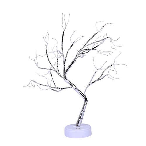 Bonsai Tree Light Flower Bone 108 Mini Leds Lights Battery Powered Pearl Desk Table Lamp with Round Metal Base Adjustable...