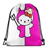 Bolsa clásica con cordón Hello Kitty Angel and Devil Gym Mochila de hombro Bolsa de almacenamiento deportiva para hombre y mujer