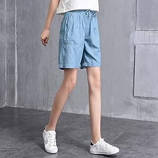 LUKEEXIN Five Pants Female Summer Thin Section Fat Mm Loose Korean Wide Leg Elastic Waist Silk Short Denim Shorts