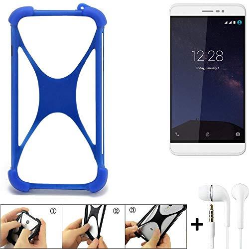 K-S-Trade® Handyhülle Für Coolpad Porto S Bumper Schutzhülle Silikon Schutz Hülle Cover Case Silikoncase Silikonbumper TPU Softcase Smartphone, Blau (1x), Headphones