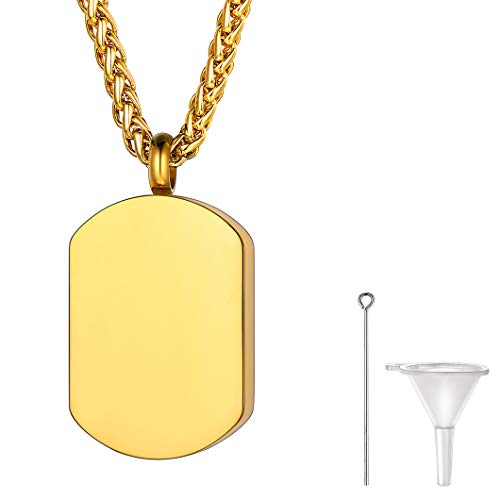 Richsteel Cadena Dorada Espiga 22+2 Pulgadas Ajustable con Colgante Placa de Ejército Mini Urna de cremación Recuerdo Cerca de corazón