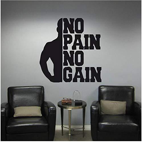 No Pain No Gain Fitness Tatuajes De Pared Dormitorio Motivación Ejercicio Gimnasio Vinilo Pegatinas De Pared Deportes Culturismo Fondo De Pantalla 57X59Cm
