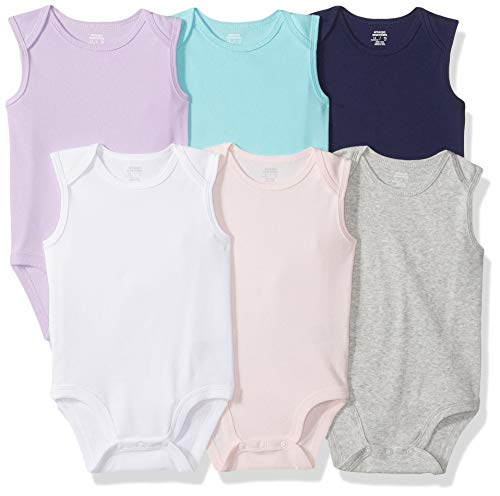 Amazon Essentials - Body sin mangas para bebé, 6 unidades, Solid Pink, Purple & Aqua, Preemie