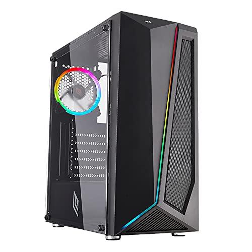 Noua Nexus P4 Black Case ATX per PC Gaming 0.45MM SPCC 3*USB3.0 2.0 Ventola RGB Addressable 5V 3-Pin e Strip LED ADD-RGB Front ABS Mesh e Pannello Laterale in Vetro Temperato (AxPxL: 425x387x187 mm)