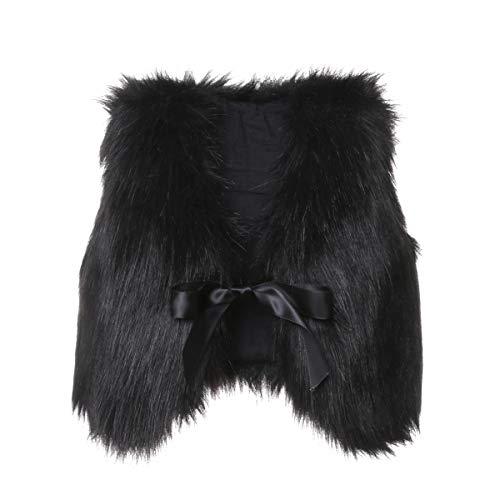 Toddler Girl Faux Fur Vest Coat Winter Warm Waistcoat Outerwear (0-6 Months, Black)