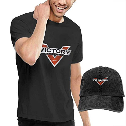 SOTTK Camisetas y Tops Hombre Polos y Camisas, Personalized Victory Motorcycles Logo Tshirts with Hats for Man 100% Cotton O-Neck Black