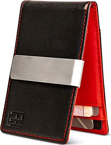F&H Minimalist Slim Leather Wallet Money Clip Holds 8 Cards (Black / Red)