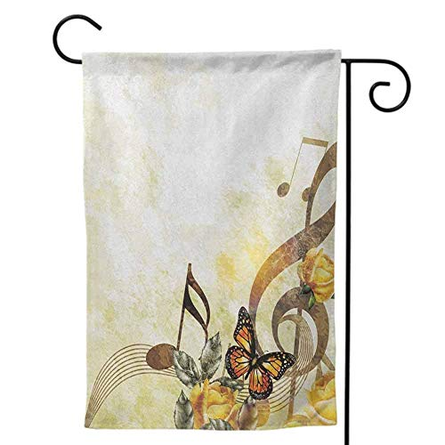 Garden Flags Double-Sided Polyester Outdoor Yard flag Design for All Seasons and Music Music Piano Keys Curvy Fingerboard Summertime Entertainment Flourish Lime Green Black White Decorative 12x18