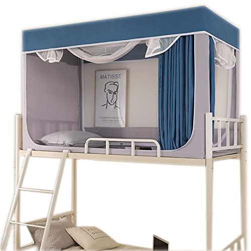 OKMNB Studenten-Moskitonetz, Schlafsaal 0,9 m Schlafvorhang Blackout EIN Zelt Schlafsaal Bettvorhang mit Halterung Duplex Blue-0.9m