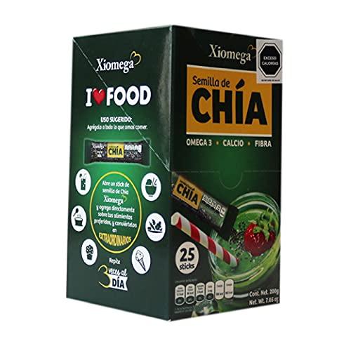 Xiomega - Semilla de Chía- Fuente Natural de Omega 3 - Ideal para Enriquecer Bebidas y Alimentos - Paquete en Display con 25 Pzas de 8 Grs