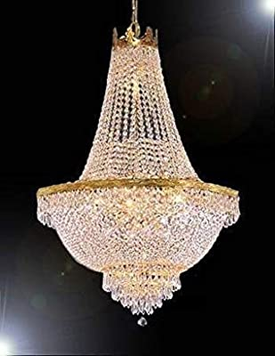 "French Empire Crystal Gold Chandelier Lighting - Great for The Dining Room, Foyer, Entry Way, Living Room - H30"" X W24"""