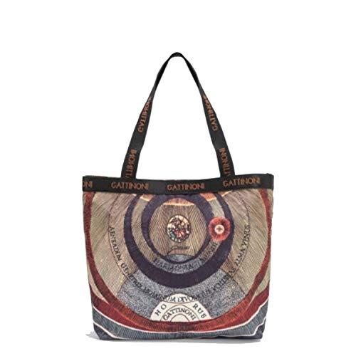 Gattinoni Borse donna a spalla Planetarium Classica Nera in tessuto nylon Borsa Shopping con bottone magnetico