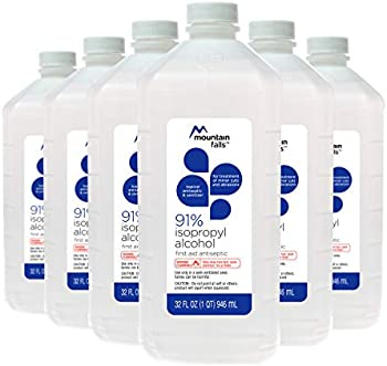 6-Pack Mountain Falls 91% Isopropyl Alcohol First Aid Antiseptic, 32 Fl Oz