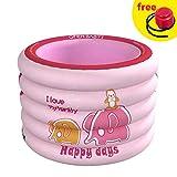 LIXIFF Tragbarer Baby-Pool Aufblasbare Kinderbadewanne 100x75cm Baby Mini-Spielplatz Umweltfreundlicher PVC-Teich, Pink Elephant