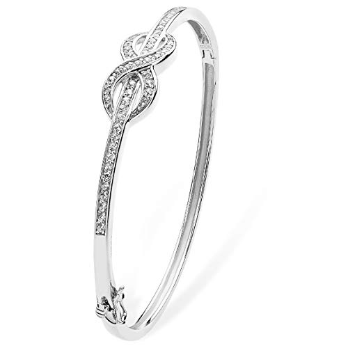 Aeon Sterling Silver White Cubic Zirconia Infinity Bangle - Love, Romance, Endless Love, Romantic, Infinite Love - Fine Sterling Silver Jewellery for Women Gifts for Girls - 50mm * 2mm