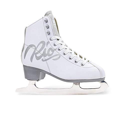 Rio Roller Script Ice Skates Pattini per Ghiaccio Pattinaggio Bambini, Unisex, RIO012, Blanco (Bianco), 37