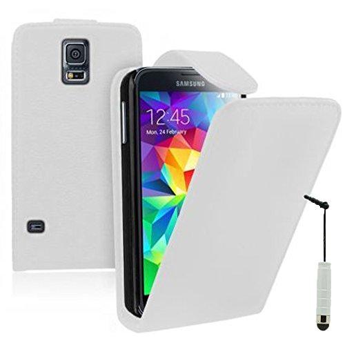 ANNART Funda Polipiel De Solapa Vertical para Samsung Galaxy S5V G900F /S5 Plus/ Neo + Mini Lápiz Óptico - Blanco