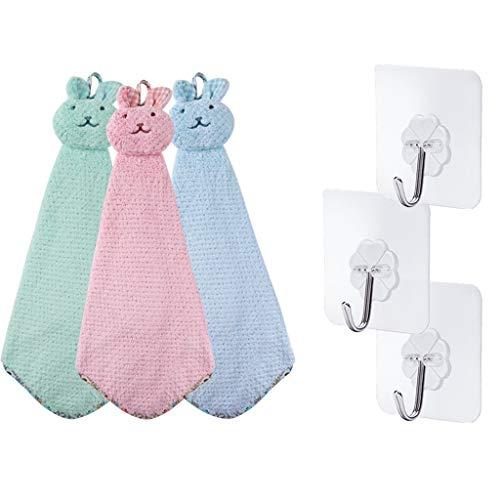 HapHomeshop handdoek, schattig, absorberend, voor huishouden, badkamer, keuken, servies, zakdoek, haken, stof, 3-delige set, ontvangstruimte, keuken