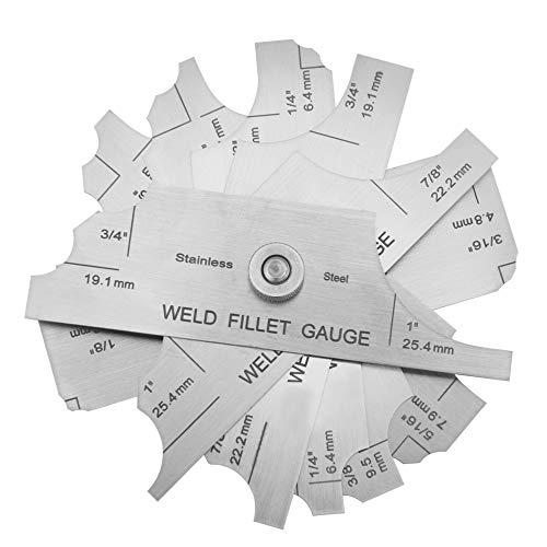 Medidor de conjunto de soldadura de filete, medidor de calibre de soldadura Medidor de inspección de soldador cubital, tanto en pulgadas como métrico para calderas, puentes