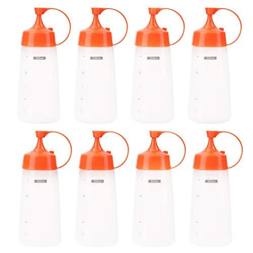 Lawei 8 x 300 ml Quetschflasche Saucenbehälter Squeeze Flasche Aufbewahrungsbehälter aus Kunststoff mit Auslaufsicher Kappen & Messung für Ketchup Grill Saucen Sirup Dressings