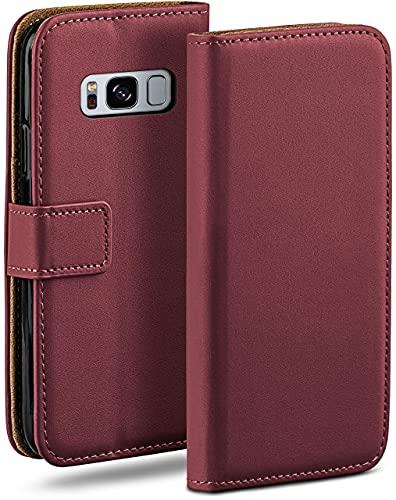 moex Klapphülle kompatibel mit Samsung Galaxy S8 Hülle klappbar, Handyhülle mit Kartenfach, 360 Grad Flip Hülle, Vegan Leder Handytasche, Weinrot