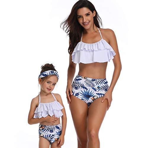 Soyml moeder en dochter bijpassende kleding retro vintage polka hoge taille badpak zwemkleding Bikini