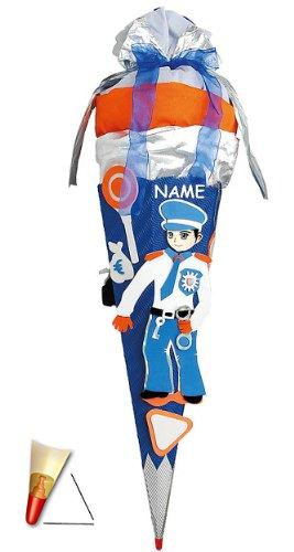 alles-meine.de GmbH BASTELSET Schultüte - Polizei 85 cm - incl. Namen - mit Holzspitze - Zuckertüte Roth - ALLE Größen - 6 eckig Polizist für Jungen Auto blau