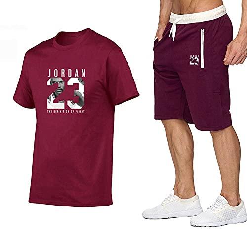 FZYQY Conjuntos de chándal para Hombre Conjunto de Ropa Deportiva Jordan 32 Camiseta de Manga Corta y Pantalones Cortos para Verano para Gimnasio Transpirable y Confortable/A/XXXL