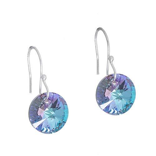Aretes redondos de cristal esmaltado lila tornasol