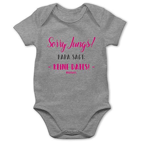 Shirtracer Sprüche Baby - Sorry Jungs Papa SAGT Keine Dates - 3/6 Monate - Grau meliert - Papa Body 56 - BZ10 - Baby Body Kurzarm für Jungen und Mädchen