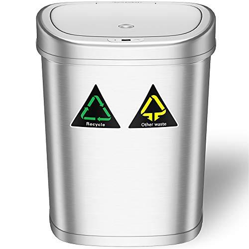 Amagabeli Cubo de Basura Automático - 11 Gallon / 42L Cubo de Basura con Sensor Automatico de Reciclaje Acero Inoxidable Sensor de Movimiento por Infrarrojos Sin Contacto Automático Cocina de Basura