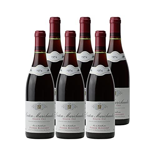 Corton Maréchaudes Rotwein 1974 - Pierre Bitouzet - g.U. - Burgund Frankreich - Rebsorte Pinot Noir - 6x75cl