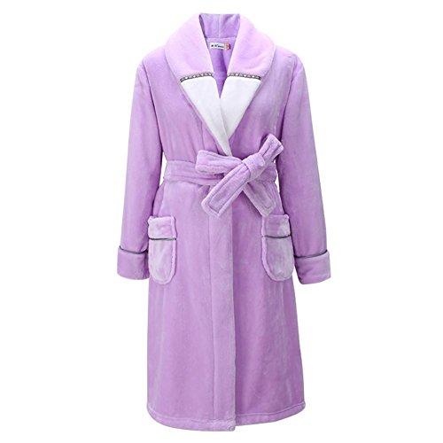 NIGHTSLEEP Herren Bademantel Flanell Stoff große größe männer Nachthemd Herbst und Winter Pyjamas lose typ, e72-a Purple, XXXL