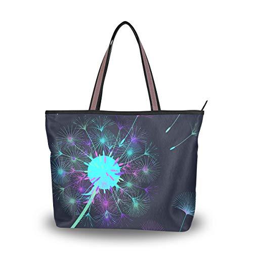 Damen Handtasche Pusteblume Blumen Griff Casual Tote Schulter Arbeit Casual Bag L, Mehrfarbig - multi - Größe: Large