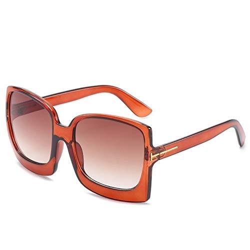 N\A Gafas de Sol de Moda Sobredimensionado diseñador de Moda Gradiente Las Gafas de la Marca del capítulo plástico Grande Femenina Gafas de Sol UV400 (Lenses Color : Brown)